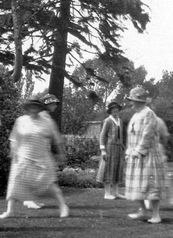 Photograph courtesy of Peter Perry. The fiddler is Richard Sharp of the Boxgrove Tipteers and the ladies are dancing 'The Black Nag' in the garden of Richard Sharp's house in Chichester.